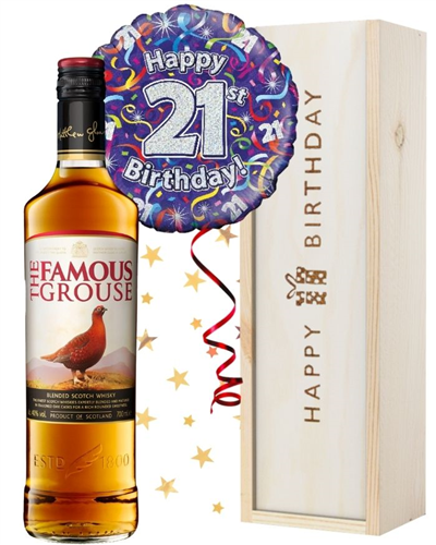 21st Birthday Scotch Whisky and Balloon Gift