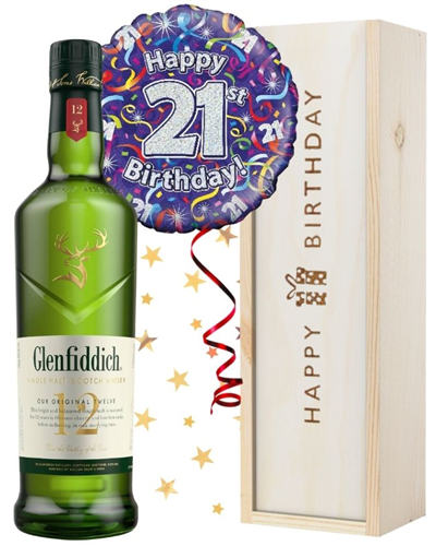 21st Birthday Single Malt Whisky and Balloon Gift