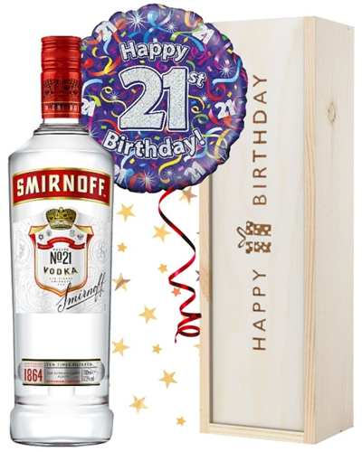 21st Birthday Vodka and Balloon Gift