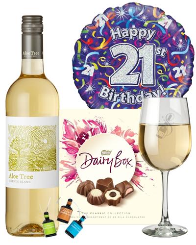 21st Birthday White Wine And Chocolates