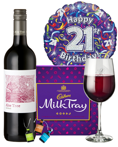 21st Birthday Wine Gift - Red Wine And Chocolates Gift Set