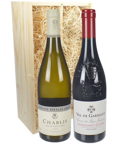 Chablis and Chateauneuf-du-Pape Mixed Two Bottle Wine Gift in Wooden Box