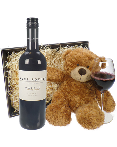 French Malbec Red Wine and Teddy Bear Gift Basket