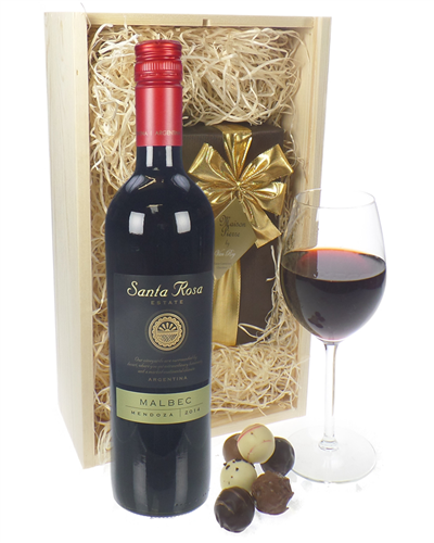Malbec Wine and Chocolates Gift Set in Wooden Box