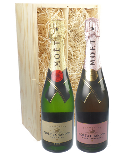 Moet And Moet Rose Two Bottle Champagne Gift in Wooden Box