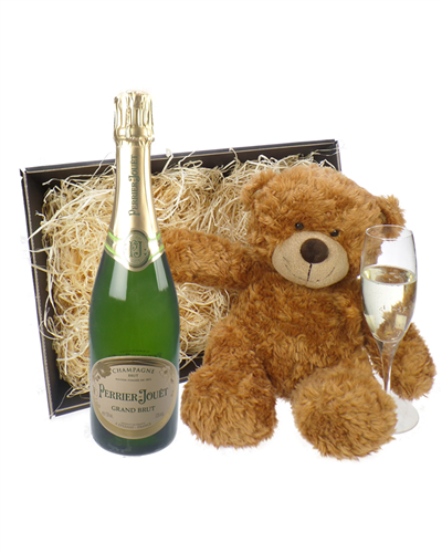 Perrier Jouet Champagne and Teddy Bear Gift Basket