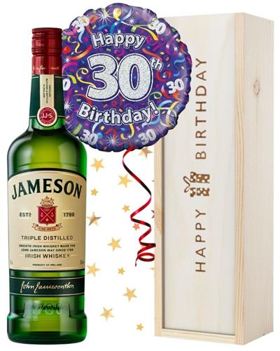 30th Birthday Irish Whiskey and Balloon Gift