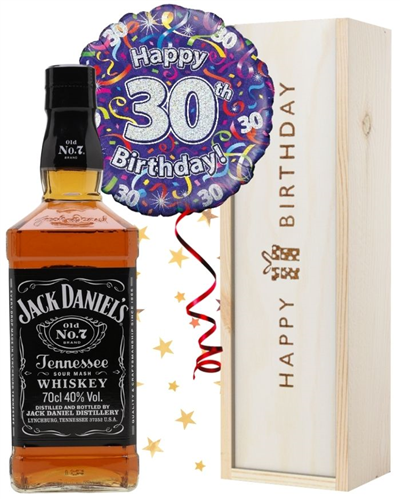 30th Birthday Jack Daniels Whiskey and Balloon Gift