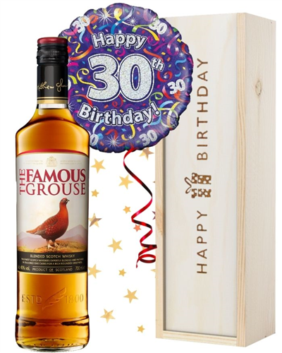 30th Birthday Scotch Whisky and Balloon Gift