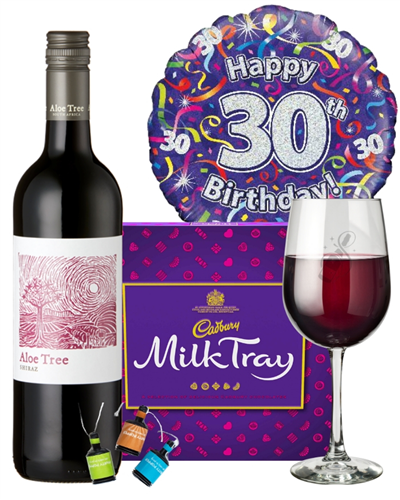 30th Birthday Wine Gift - Red Wine And Chocolates Gift Set