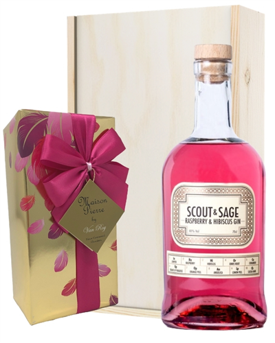 Scout And Sage Raspberry Gin and Chocolates Gift Set