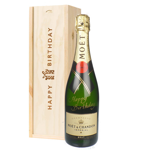 Happy Birthday Moet Champagne Birthday Gift In Wooden Box