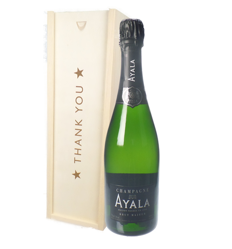 Ayala Champagne Thank You Gift In Wooden Box