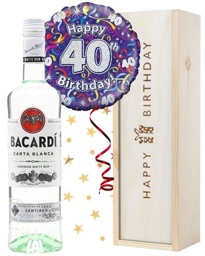40th Birthday Bacardi Rum and Balloon Gift