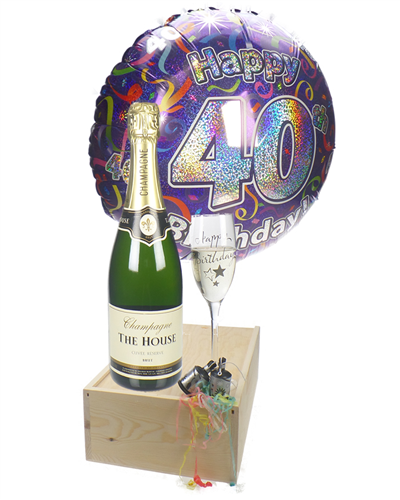 40th Birthday Champagne Flute Gift