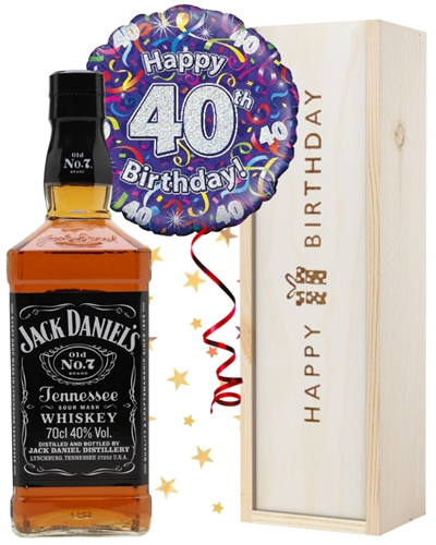 40th Birthday Jack Daniels Whiskey and Balloon Gift