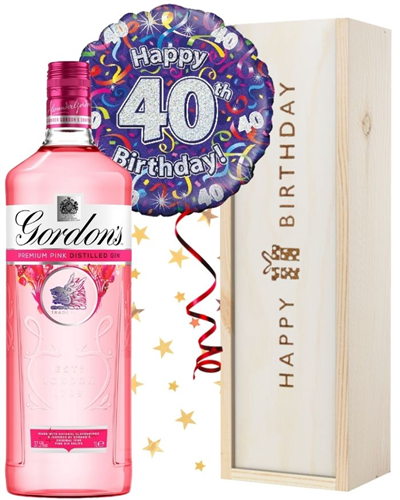 40th Birthday Pink Gin and Balloon Gift