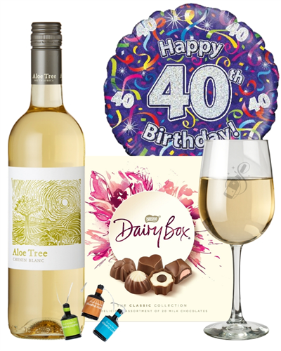 40th Birthday White Wine And Chocolates Gift
