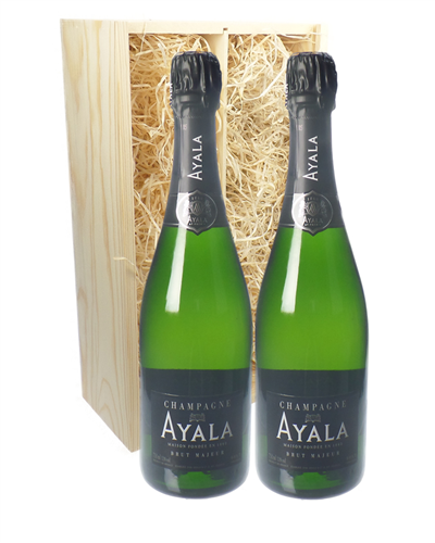 Ayala Two Bottle Champagne Gift in Wooden Box