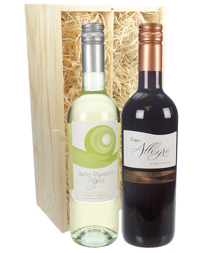 Italian Mixed Two Bottle Wine Gift in Wooden Box