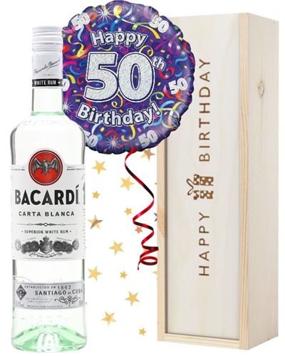 50th Birthday Bacardi Rum and Balloon Gift