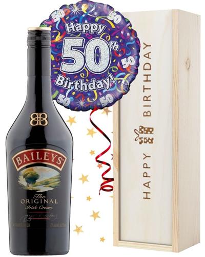 50th Birthday Baileys and Balloon Gift