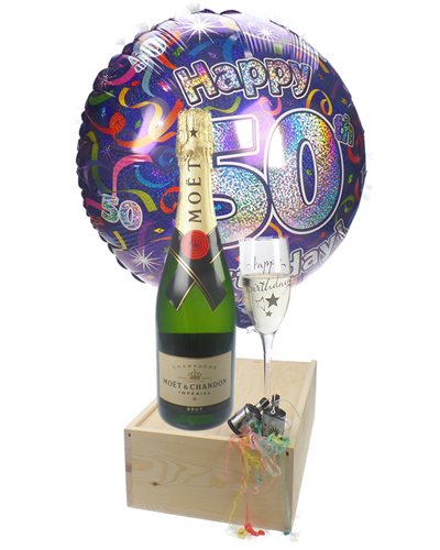 50th Birthday Gift - Moet Champagne - Balloon - Flute