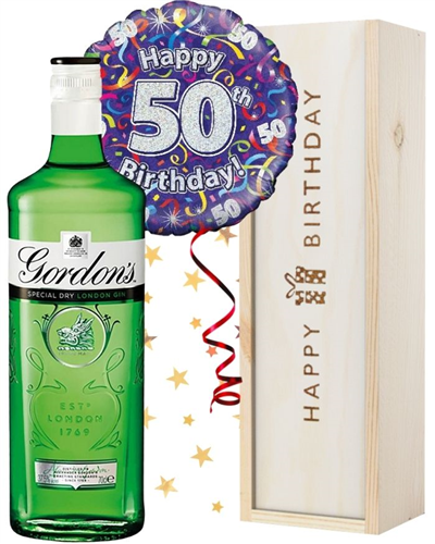50th Birthday Gin and Balloon Gift