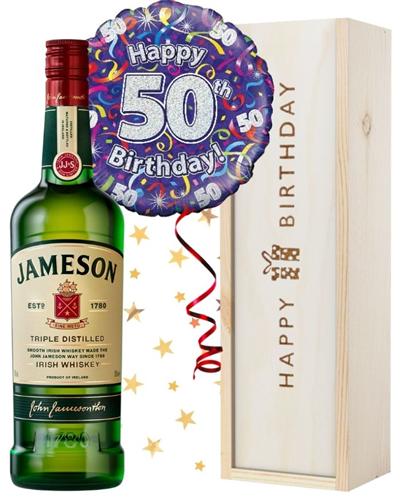 50th Birthday Irish Whiskey and Balloon Gift