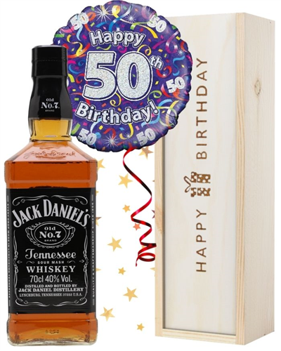 50th Birthday Jack Daniels Whiskey and Balloon Gift