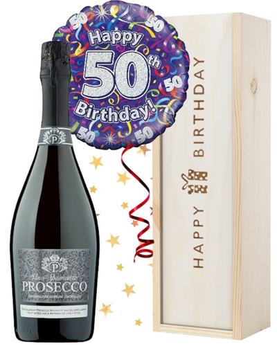 50th Birthday Prosecco and Balloon Gift