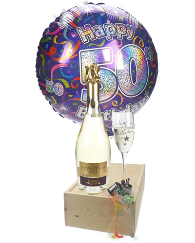 50th Birthday Prosecco And Flute Gift
