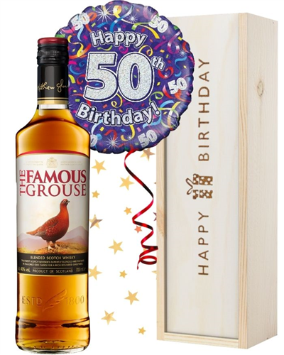 50th Birthday Scotch Whisky and Balloon Gift