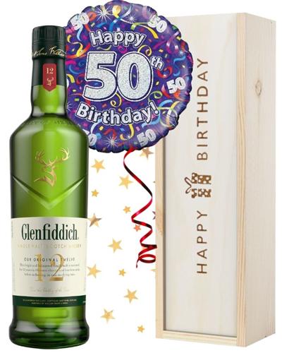 50th Birthday Single Malt Whisky and Balloon Gift