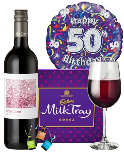 50th Birthday Wine Gift - Red Wine And Chocolates Gift Set