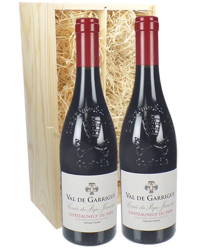 Chateauneuf Du Pape Two Bottle Wine Gift in Wooden Box