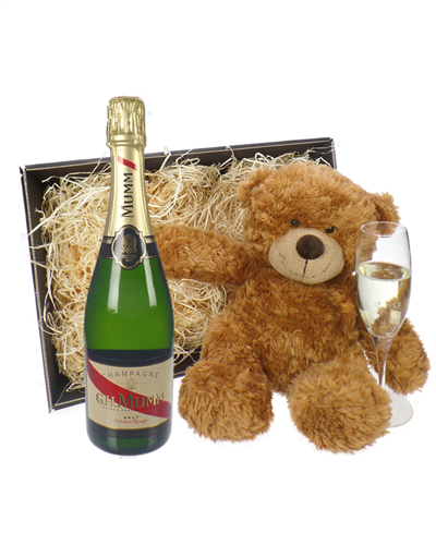 Mumm Champagne and Teddy Bear Gift Basket