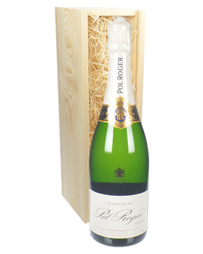 Pol Roger Champagne Gift in Wooden Box