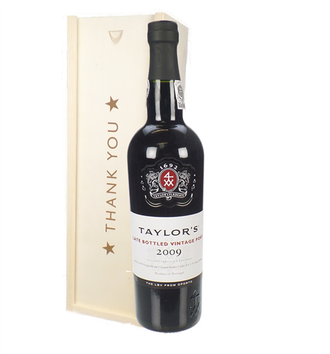 Taylors Late Bottled Vintage Port Thank You Gift In Wooden Box