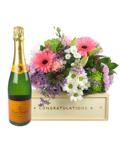 Champagne And Flowers Congratulations Gift