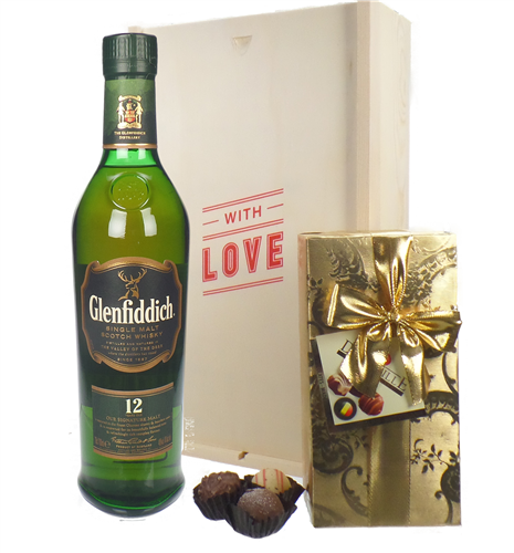 Glenfiddich Sinlge Malt Whisky And Chocolates Valentines Gift
