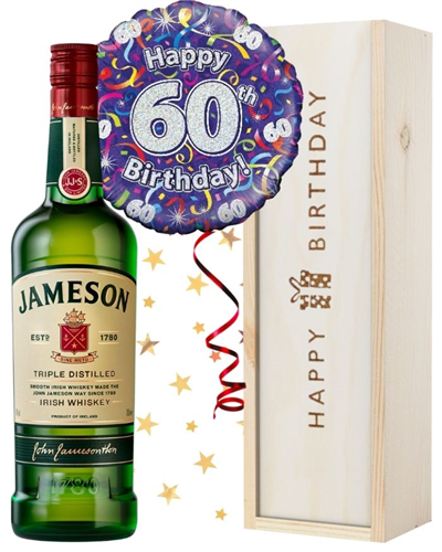 60th Birthday Irish Whiskey and Balloon Gift