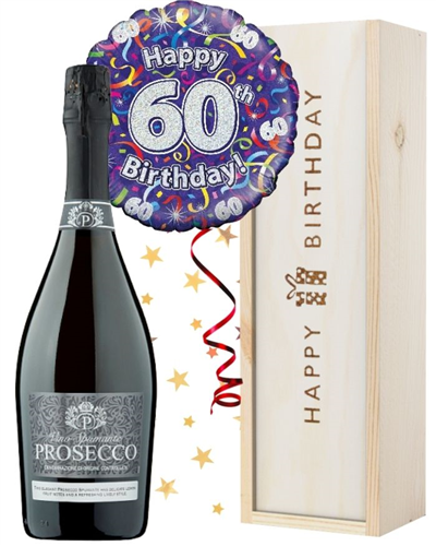 60th Birthday Prosecco and Balloon Gift