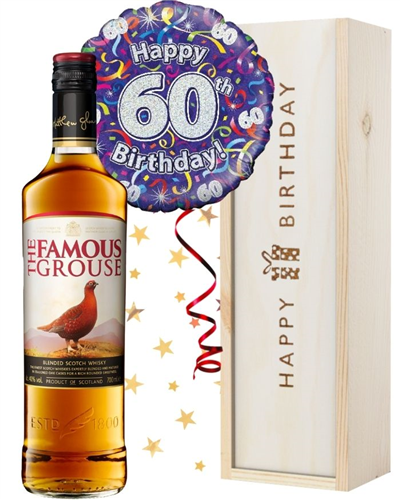 60th Birthday Scotch Whisky and Balloon Gift