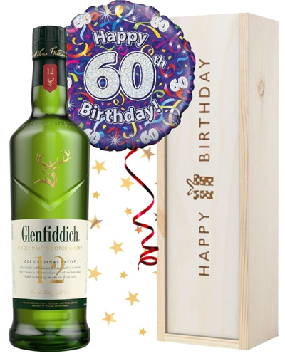 60th Birthday Single Malt Whisky and Balloon Gift