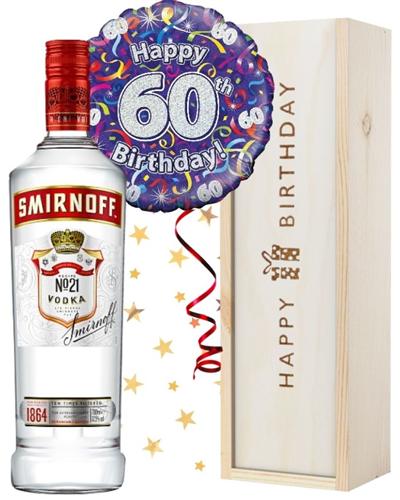 60th Birthday Vodka and Balloon Gift
