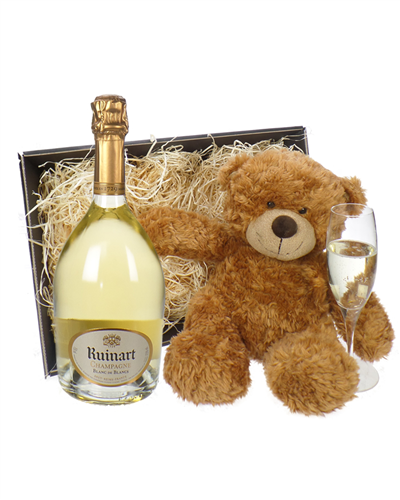 Ruinart Blanc de Blancs Champagne and Teddy Bear Gift Basket
