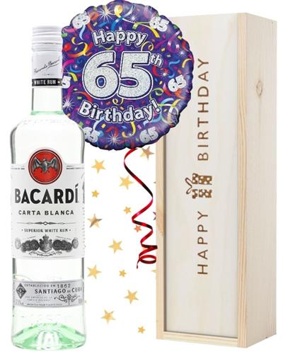 65th Birthday Bacardi Rum and Balloon Gift