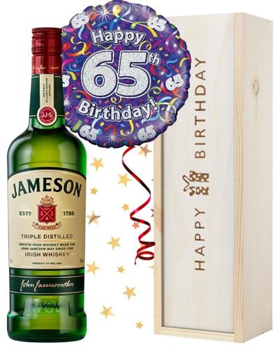65th Birthday Irish Whiskey and Balloon Gift