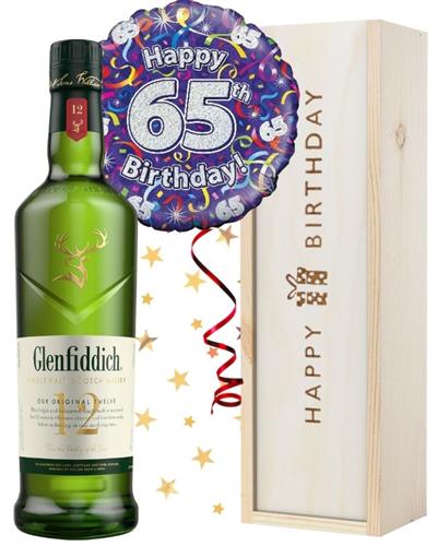 65th Birthday Single Malt Whisky and Balloon Gift